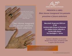 Presentazione del libro<br/>DIECI DONNE INSEGNANTI TRA PASSATO PROSSIMO E FUTURO ANTERIORE