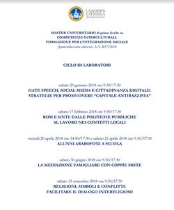 MASTER UNIVERSITARIO di primo livello in <br />COMPETENZE INTERCULTURALI. <br />FORMAZIONE PER L'INTEGRAZIONE SOCIALE<br /> Quattordicesima edizione, A.A. 2017/2018